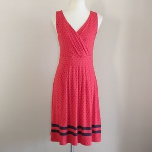 Lands End Red and Blue Polka Dot Nautical Dress
